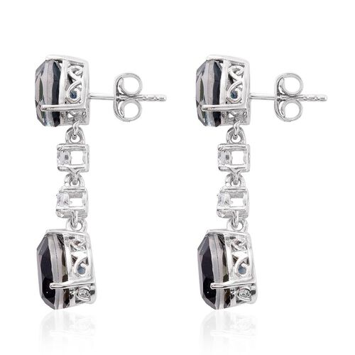 Indicolite Quartz (Pear), Natural Cambodian Zircon Earrings (with Push Back) in Platinum Overlay Sterling Silver 8.750 Ct.