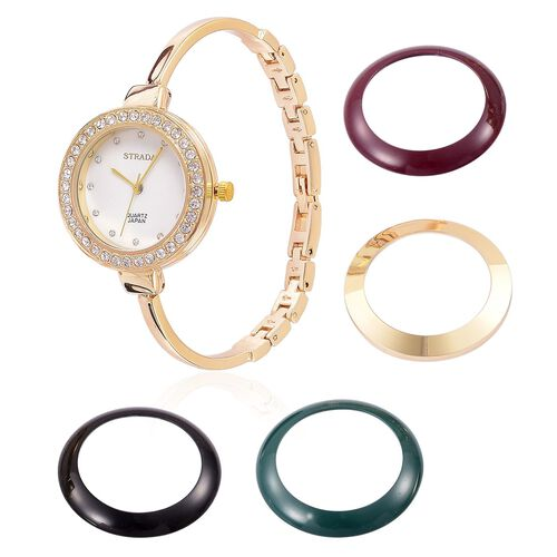 STRADA Japanese Movement White Austrian Crystal Studded Watch in Yellow Gold Tone with Multi Colour Interchangeable Bezels