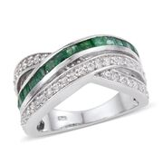 OTO - Kagem Zambian Emerald (Sqr), Natural Cambodian Zircon Criss Cross Ring in Platinum Overlay Sterling Silver 2.000 Ct.