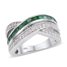 Kagem Zambian Emerald (Sqr), Natural Cambodian Zircon Criss Cross Ring in Platinum Overlay Sterling Silver 2.000 Ct.