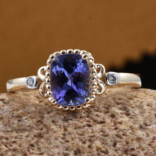 14K Y Gold Tanzanite (Cush 1.50 Ct), Diamond Ring 1.520 Ct.