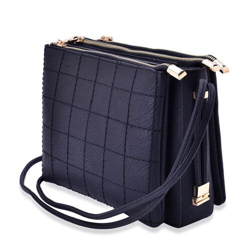 Black Colour Check Pattern Crossbody Bag with Shoulder Strap (Size 24.5x20x10 Cm)