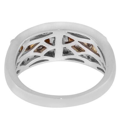 Citrine (Mrq), Diamond Ring in Platinum Overlay Sterling Silver 0.666 Ct.