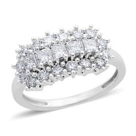 ILIANA 18K White Gold 1 Carat Princess and Round IGI Certified Diamond SI/G-H Cluster Ring
