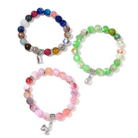 Set of 3 - Green Agate, Pink Agate and Multi Agate Bag, Hen and Lock Charm Stretchable Bracelet in Black Tone 420.000 Ct.