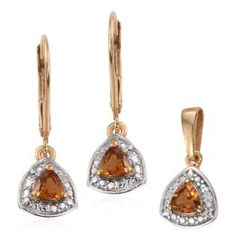 Madeira Citrine (Trl), Diamond Pendant and Lever Back Earrings in 14K Gold Overlay Sterling Silver 0.650 Ct.