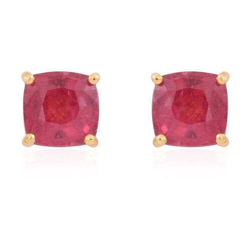 AAA African Ruby (Cush) Stud Earrings (with Push Back) in 14K Gold Overlay Sterling Silver 1.500 Ct.