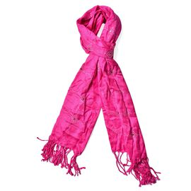 Fuchsia Colour AAA White Austrian Crystal Studded Checks Pattern Scarf with Tassels (Size 165x58 Cm)