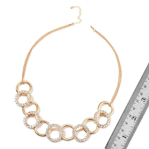 AAA White Austrian Crystal Circle Link Necklace (Size 24 with Extender) in Gold Tone