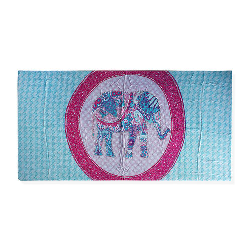 Bali Collection Blue and Pink Colour Elephant and Paisley Motif Sarong with Sequin (Size 160X110 Cm)