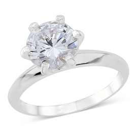 ELANZA AAA Simulated White Diamond (Rnd) Solitaire Ring in Rhodium Plated Sterling Silver