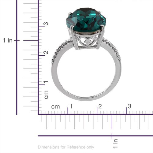 J Francis Crystal from Swarovski - Emerald Colour Crystal (Ovl) Ring in Platinum Overlay Sterling Silver