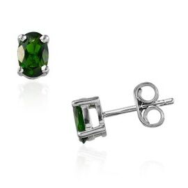 Russian Diopside (Ovl) Stud Earrings (With Push Back) in Platinum Overlay Sterling Silver 1.000 Ct.