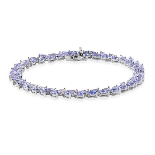 AA Tanzanite (Mrq) Bracelet (Size 7.5) in Platinum Overlay Sterling Silver 9.000 Ct.
