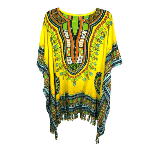 Bali Collection - 100% Rayon Yellow and Multi Colour Mandala Ethnic Motif Poncho (Free Size)