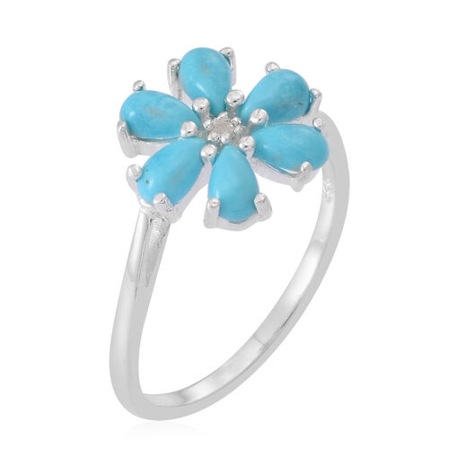 Arizona Sleeping Beauty Turquoise (Pear), White Topaz Floral Ring in Sterling Silver 1.250 Ct.