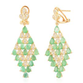 Brazilian Emerald (Pear), White Zircon Earrings (with French Clip) in Yellow Gold Overlay Sterling Silver 4.750 Ct.