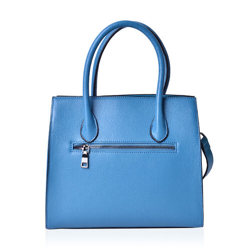 Sienna Niagara Blue Genuine Leather Croc Embossed Tote Bag with External Zipper and Flip Pockets with Adjustable and Removable Shoulder Strap (Size 28x25.5x12 Cm)
