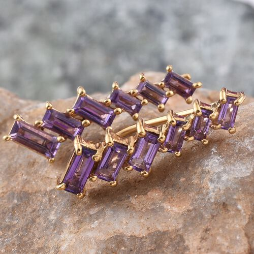AA Lusaka Amethyst (Bgt) Climber Earrings in 14K Gold Overlay Sterling Silver 2.000 Ct.