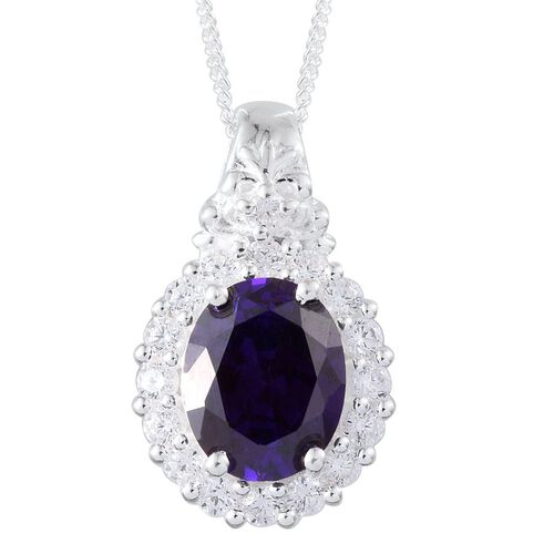 AAA Simulated Tanzanite (Ovl), Simulated Diamond Pendant With Chain in Sterling Silver