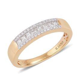 ILIANA 18K Y Gold Diamond (Sqr) Band Ring 0.500 Ct.