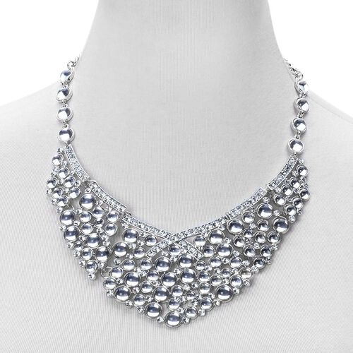 Simulated White Stone and White Austrian Crystal BIB Necklace (Size 20 with 2 inch Extender) in Silver Tone