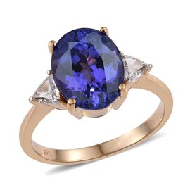 ILIANA 18K Yellow Gold AAA Tanzanite (Ovl 5.10 Ct), Diamond SI G-H Ring 5.520 Ct.