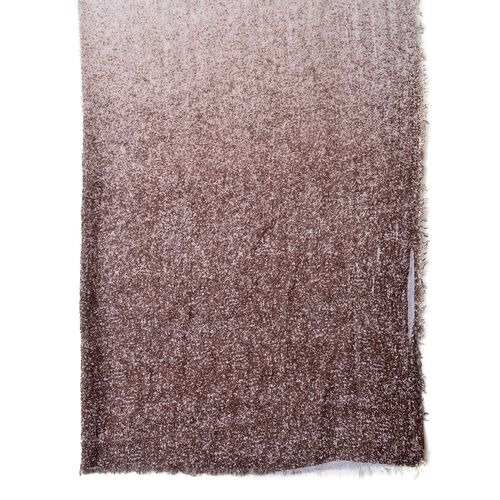 Chocolate and White Colour Ombre Pattern Scarf with Fringes (Size 180X90 Cm)
