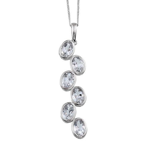 Espirito Santo Aquamarine (Ovl) Pendant With Chain in Platinum Overlay Sterling Silver 3.750 Ct.