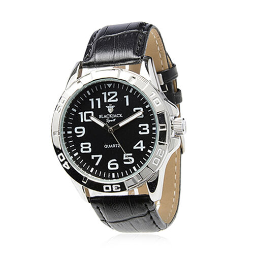 BLACKJACK Japanese Movement Black Colour Dial Water Resistant Watch in Silver Tone with Stainless Steel Back and Genuine Leather Strap