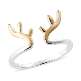 Stag Antler 2 Tone Silver Stacker Ring in Platinum and Gold Overlay.