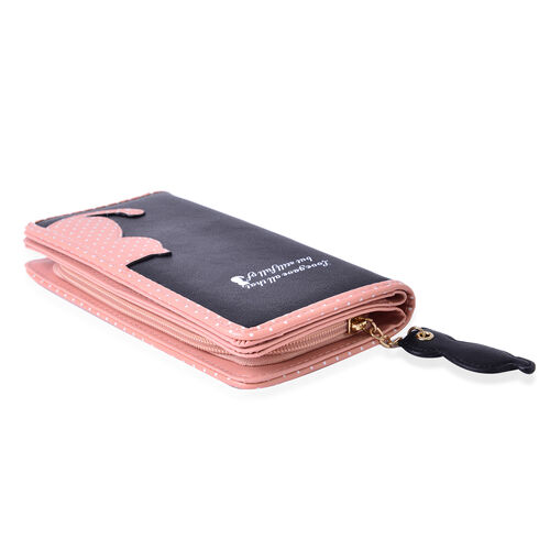 Black & Pink Colour Cat Charm Wallet (Size 19x9x3 Cm)