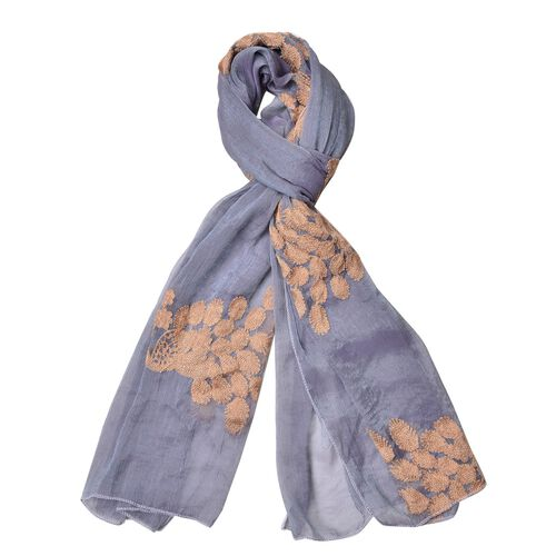 Golden Peacock Embroidered Grey Colour Scarf (Size 170X70 Cm)