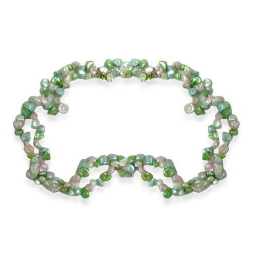 Hong Kong Collection Keshi Pearl - White, Keshi Pearl - Pink, Keshi Pearl - Enhanced Green, Keshi Pearl - Enhanced Blue Necklace in Sterling Silver (Size 18) 200.000 Ct.