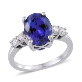 ILIANA 18K W Gold AAA Tanzanite (Ovl 3.75 Ct), Diamond (SI/G-H) Ring 4.100 Ct.