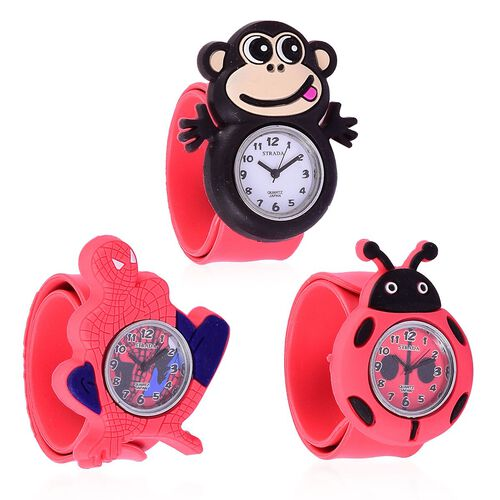 Set of 3 - STRADA Japanese Movement White, Red and Blue Dial Water Resistant Monkey, Beetle and Spiderman Watch with Red Silicone Strap