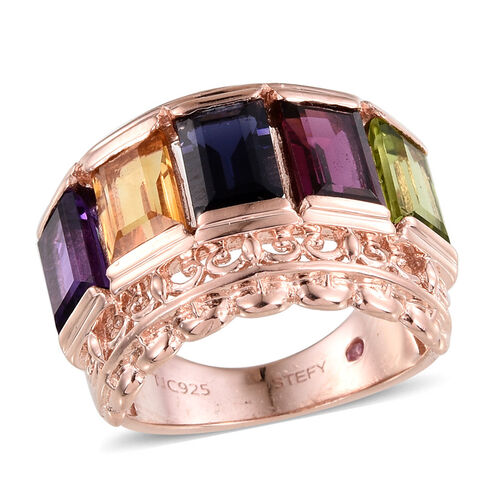 Stefy Rhodolite Garnet (Bgt), Citrine, Hebei Peridot, Iolite, Amethyst and Pink Sapphire Ring in Rose Gold Overlay Sterling Silver 5.020 Ct.