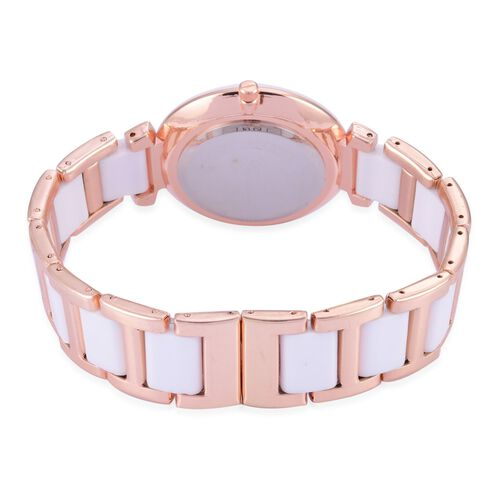 Diamond studded GENOA White Ceramic Japanese Movement MOP Dial Water Resistant Watch in Rose Gold Tone with Stainless Steel Back and Chain Strap