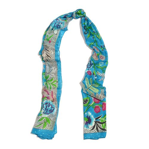 100% Mulberry Silk Blue, Green and Multi Colour Floral and Leaves Hand Screen Printed Scarf (Size 170X50 Cm)