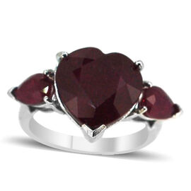 African Ruby (Hrt 11.00 Ct) Ring in Rhodium Plated Sterling Silver 13.000 Ct.