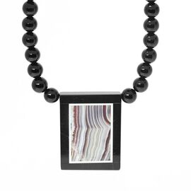 Black Agate, Lace Agate Necklace (Size 18) in Stainless Steel 160.000 Ct.