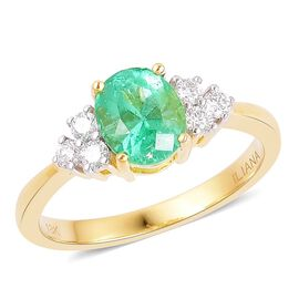 ILIANA 18K Y Gold Boyaca Colombian Emerald (Ovl 1.33 Ct), Diamond Ring 1.510 Ct.