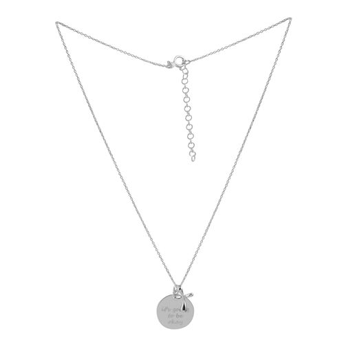 Sterling Silver Inspirational Quote Pendant With Chain (Size 16 with 2 inch Extender), Silver wt 3.25 Gms.