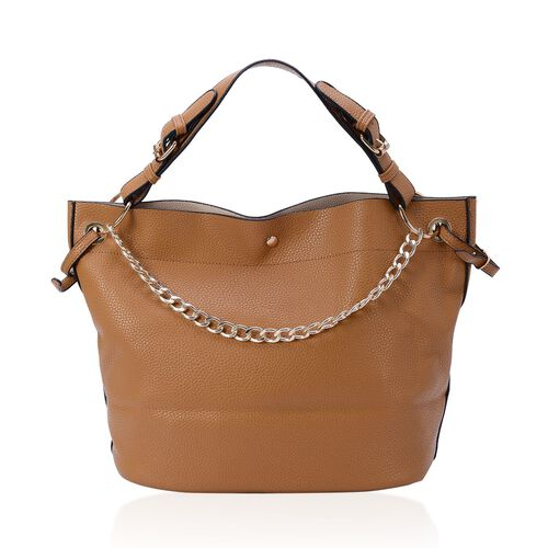 Set of 2 - Tan Colour Large and Small Tote Bag with Adjustable and Removable Shoulder Strap (Size 41x28x16 Cm and 33x20x9 Cm)