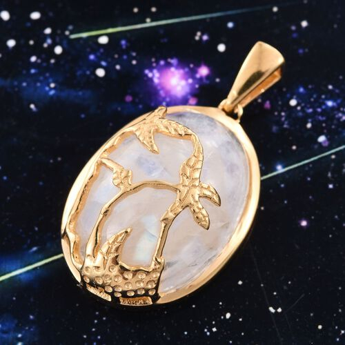 Rainbow Moonstone (Ovl) Nature Inspired Pendant in 14K Gold Overlay Sterling Silver 16.750 Ct.