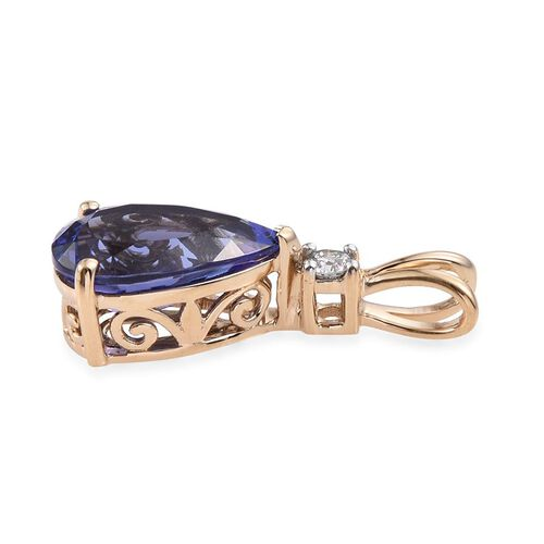 ILIANA 18K Y Gold AAA Tanzanite (Pear 3.40 Ct), Diamond Pendant 3.500 Ct.