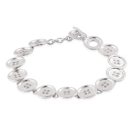 LucyQ Button Bracelet (Size 8) in Rhodium Plated Sterling Silver 21.55 Gms.
