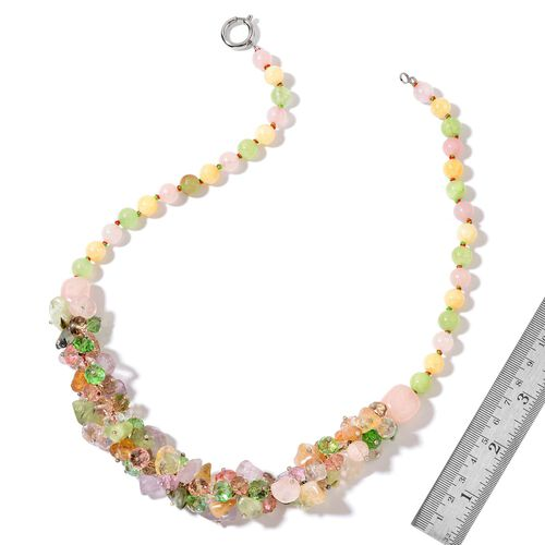 Rose Quartz, Amethyst, Simulated Multi Colour Diamond and Multi Gem Stone Necklace (Size 20) and Hook Earrings in Silver Tone with Stainless Steel