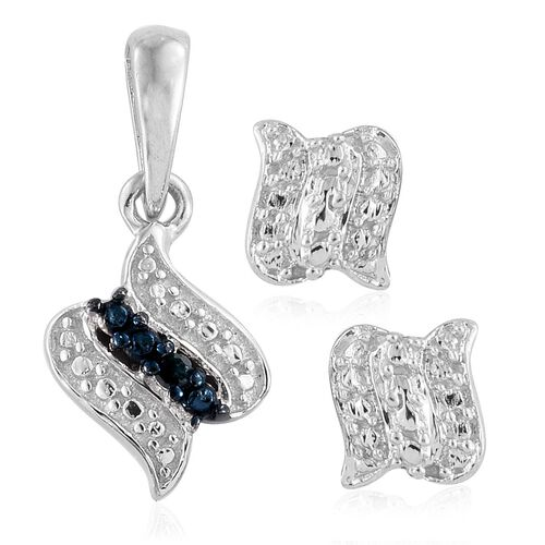 Blue Diamond (Rnd) Pendant and Stud Earrings (with Push Back) in Platinum Overlay Sterling Silver