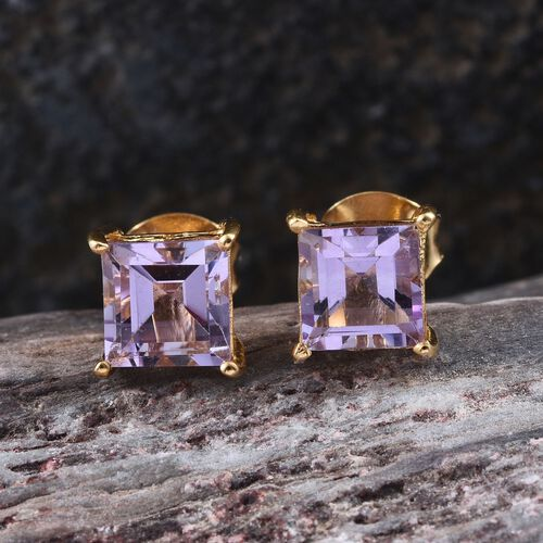 Rose De France Amethyst (Sqr) Stud Earrings (with Push Back) in 14K Gold Overlay Sterling Silver 1.750 Ct.